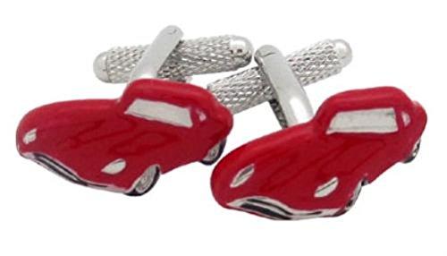 Onyx-Art London CK831 Boutons de manchette en forme de Jaguar Rouge