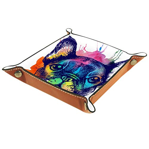 Mapotofux Ring Dish Jewelry Holder Trinket Dice Tray Best Gifts for Women A French Bulldog
