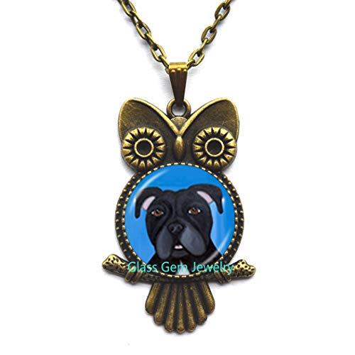 Pit Bull - Collar con colgante de búho para perro, Pitbull Terrier, para rescate de mascotas, diseño de bulldog para accesorios para amantes de los animales, Q0222