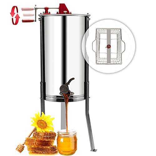 VINGLI 2 Frames Manual Honey Extractor Separator, Food Grade Stainless Steel Honeycomb Spinner Drum Crank By Hand With Adjustable Height Stands, Beekeeping Pro Extraction Apiary Centrifuge Equipment