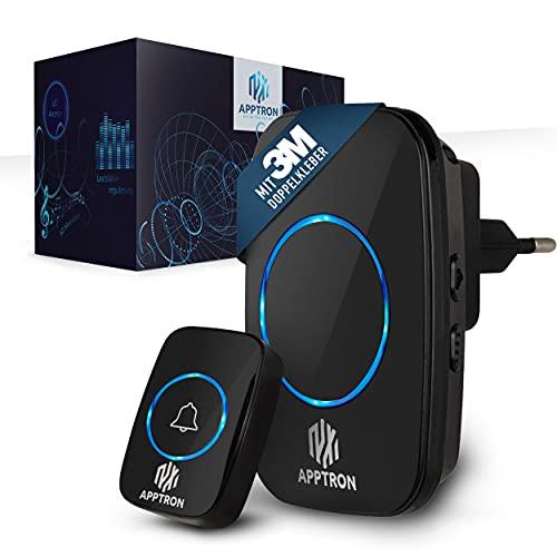 Apptron – Premium Funkklingel 300m Reichweite – Funk Türklingel kabellos, batteriebetrieben & IP44 wasserabweisend – 60 Töne & 5 Lautstärken