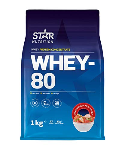 Star Nutrition | Whey 80 | Pure Concentrated Diet Whey Protein Powder with High Protein & Low Sugar | Protein Powders for Perfect Protein Shakes | Strawberry & Milk Flavor | 1Kg