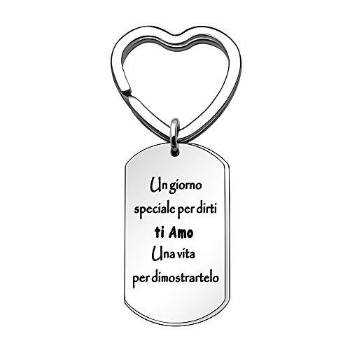 Angelra Portachiavi da Uomo Donna Ispiratore, Regali di Compleanno Ciondolo con Incisione per Amici Famiglia Amore (Style 8) (Style 1)
