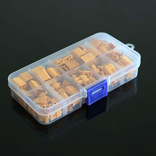 IGOSAIT Caja de 50 piezas de embalaje XT30 30A Max Bullet Conectores Conecte RC Lipo batería XT-30 XT30U para RC Lipo Battery Quadcopter Multicopter