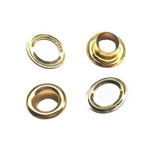 200 Sets Grommets Eyelets 4mm Inner Diameter Round Metal Eyelets Grommets with Washers Leathercraft Accessory Fasteners for Shoes Bead Cores Clothes Leather Craft Bags, Golden