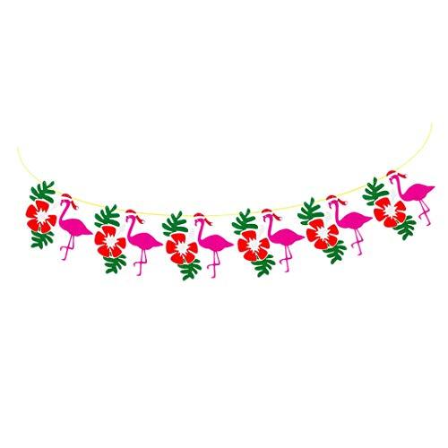 Hawaiian Christmas Party Banner, Flamingo Mit Weihnachtsmütze Und Pflanzendekorationen Banner Für Summer Beach Und Xmas Party Garland