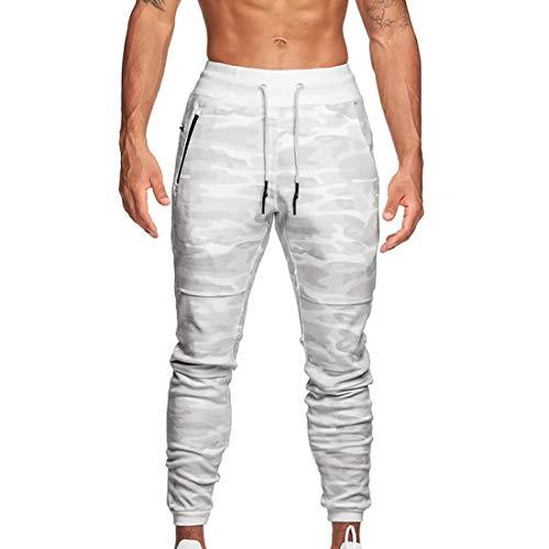 MUYOGRT Pantalones de chándal para hombre, de corte ajustado, para el tiempo libre, para correr, con bolsillos con cremallera, clásicos, elásticos camuflaje blanco. XXXL