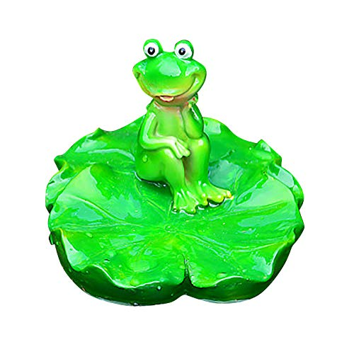 3D Creative Lotus Leaf Frog Funny Resin Statues Green Frog Figurine Statue Animal Decor Frog Base for Kids Gift Courtyard Garden Decoration