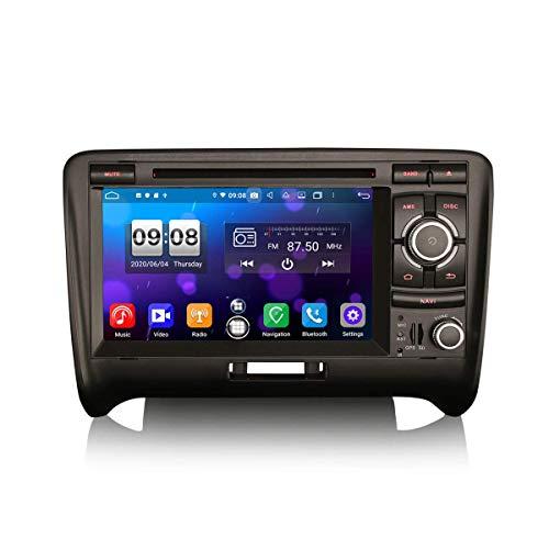 LYHY Car Navigator 7 Pulgadas Android 10.0 Car Stereo para Audi TT MK2 Soporte GPS Sat Nav Carplay Android Auto DSP Bluetooth WiFi 4G Dab + TPMS 8-Core 4GB RAM + 64GB ROM