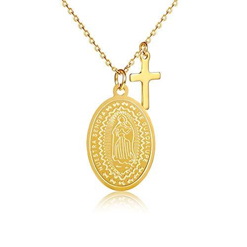 Kim Johanson Edelstahl Damen Halskette *Maria* in Silber & Gold | Madonna Kette mit Kreuz | Boho Schmuck | verstellbare Kette inkl. Schmuckbeutel (Gold)