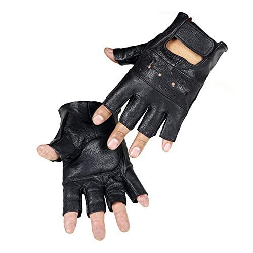 JSJJAHN Guantes de Verano Hombres Resistentes a la Resistencia Moto Guantes sin Dedos Medio Finger Capacitación de Altura Fitness (Color, Gloves Size : One Size)