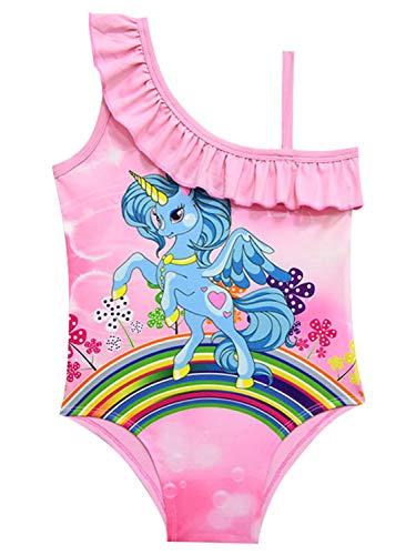 Monissy Niña Verano Bañador de Una Pieza Unicornio Morado Transpirable Infantil Volantes Conjunto de Baño Rosa Poliester Playa Vacaciones Piscina Regalo Beachwear 3-10años 100-140