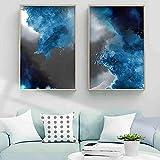 CUTMG Pintura Abstracta nórdica gradiente Azul Acuarela Arte Lienzo Pintura Sala de Estar Pasillo Oficina decoración del hogar Mural (70x100cm) x2 sin Marco
