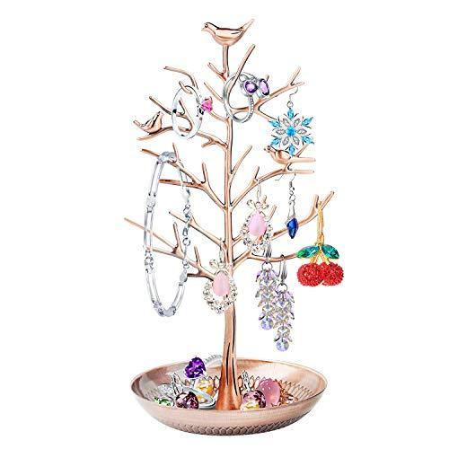 Discoball - Espositore per gioielli, supporto e supporto – New Rose Gold Birds Tree Orecchino Collane Bracciali Portagioie
