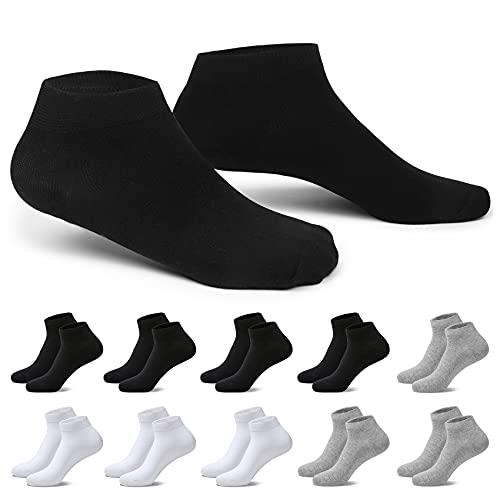 EKSHER Sneaker Socken Herren 43-46 10 Paar Schwarz&Weiß&Grau Kurze Halbsocken Quarter Baumwollesocken Unisex