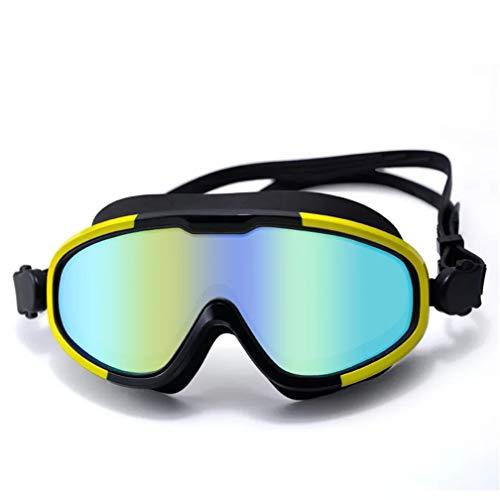 Gafas de natación para adultos con marco grande, anti-UV y antivaho, alta definición, amplia y buena visión para hombres y mujeres gafas de natación de playa (amarillo)