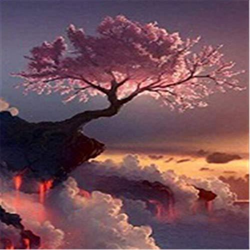 YINGOO Pittura Diamante 5D Fai da Te Nuvole Bianche del Grande Albero dei Fiori Rosa Diamond Painting Mosaico Pittura A Punto Croce per Adulti Strass Ricamo Diamante Art Y4092-40x50cm