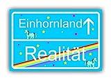 Cartello blu divertente come regalo per gli amanti degli unicorni, idea regalo per ragazze, figlie, fidanzate, madri, per Natale, compleanno 30 x 20 cm, bel cartello di localizzazione grande, luminoso