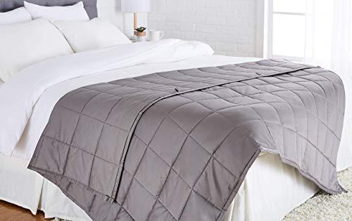 Amazon Basics - Manta de algodón con peso, para todas las estaciones, 5,4kg, 150cm x 200cm (doble), gris oscuro