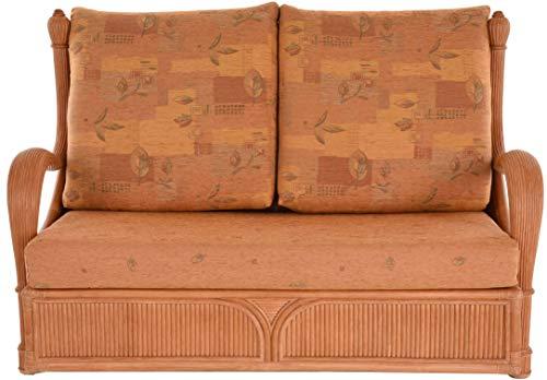 korb.outlet Edles Wohnzimmer Schlafsofa Prince Rattan-Sofa mit Schlaffunktion 2-Sitzer Liegesofa Rattansofa (Terracotta) - 2