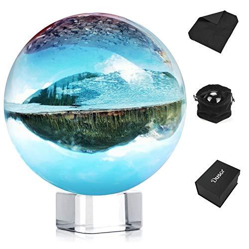 Dusor Glaskugel Fotografie, K9 Glas Lensball Foto Glaskugel, Klar Kristallkugel Deko, Fotoglasball mit Ständer und Box, Crystal Ball Fotografie Schneekugel, Geschenke für Freund, 3.14 Zoll/80mm