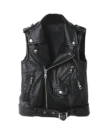 YoungSoul Chaleco de Piel Sintetico para Mujer - Cazadoras sin Mangas de Motorista - Chaquetas de imitación Cuero Negro EU 38
