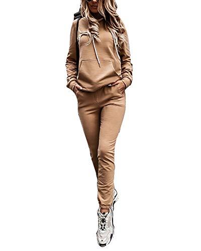 Mujer Sudadera Pullover con Capucha, Bolsillo Canguro + Pantalones Chándal Deportivo Yoga Fitness Jogger, Conjunto de 2 Piezas, Ropa Manga Larga de Casa Casual para Primavera Otoño Invierno Caqui M