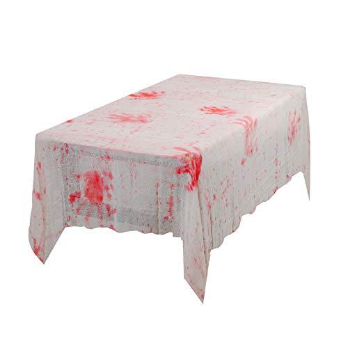 TAZEMAT Halloween Mantel con Huella de Mano Sangrienta Mantel Horrible Mancha de Sangre Estilo Terror Decoración para Halloween Fiesta de Vampiro Zombie Casa Embrujada (1.5 × 2.45m)