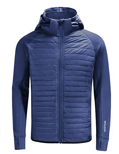 BALEAF Men's Lightweight Warm Puffer Jacket Winter Down Jacket Thermal Hybrid Hiking Coat Water Resistant Packable Blue M