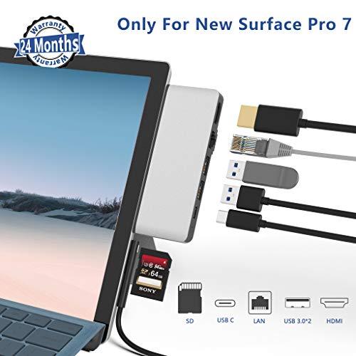 Surface Pro 7 Hub Docking Station, 6-in-1-Surface Pro 7 Dock mit 4K HDMI Adapter, 100M Ethernet LAN, USB C Audio & Data Transfer Port, 2 USB 3.0, SD-Kartenleser für Microsoft Surface Pro 7