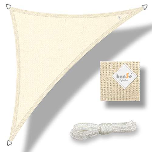 hanSe® Marken Sonnensegel Sonnenschutz Wetterschutz Wetterbeständig HDPE Gewebe UV-Schutz Dreieck 3x3x3 m Creme