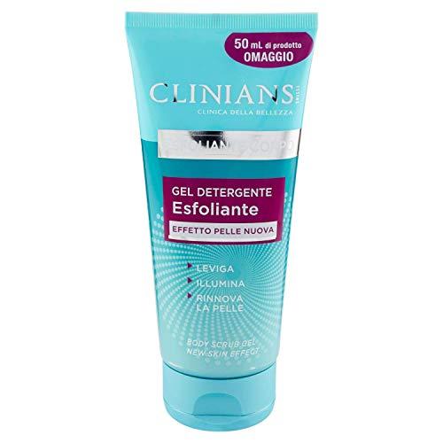 CLINIANS ESFOLIANTE CORPO gel limpiador exfoliante con efecto piel nueva, con Perlita y Cristales de Cuarzo, 200 mL