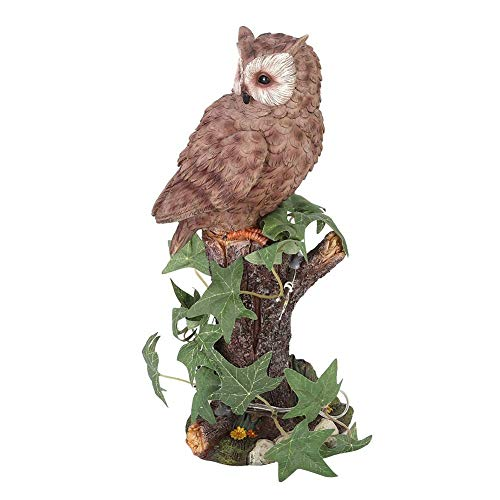 LIUSHI Owl Decoration Statue, Garden Solar Light Bird Animal Sculpture LED Night Light Resin Painted Art Lawn Decoration