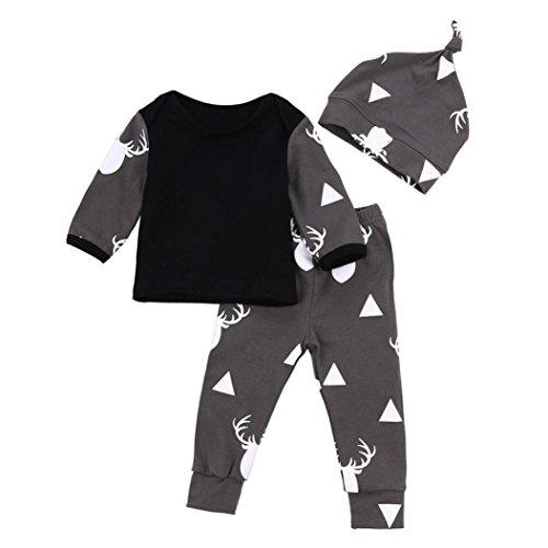 Bekleidung Longra Neugeborenes Baby Jungen Mädchen Kleidung Hirsch Tops-T-Shirt + Hosen Leggings + Hüte 3pcs Outfits Set (0-18 Monate) (80CM 6Monate)
