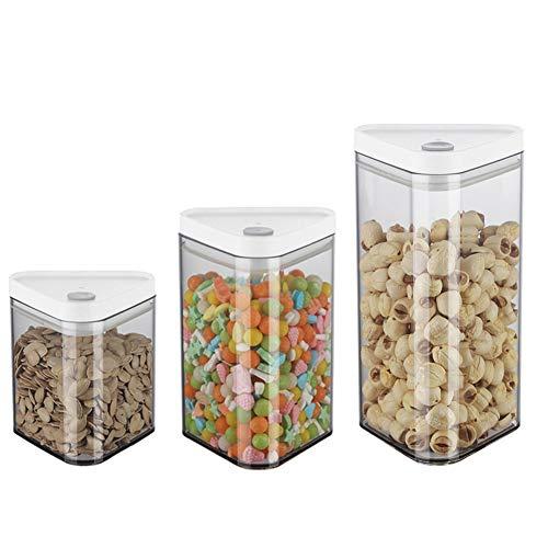ZHHAOXINST Küche Stapelbare Vorratsdose Set 3 Stück, BPA Frei, Frischhaltedosen in Allen Größen mit Deckel Lagerbehälter für Getreide Nüsse Trockenvorräte BPA Frei, Transparent