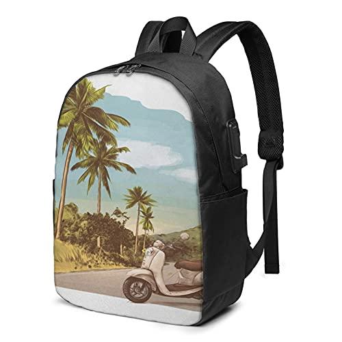 Laptop Rucksack Business Rucksack für 17 Zoll Laptop, Effekt Scooter Ständer Schulrucksack Mit USB Port für Arbeit Wandern Reisen Camping, für Herren Damen