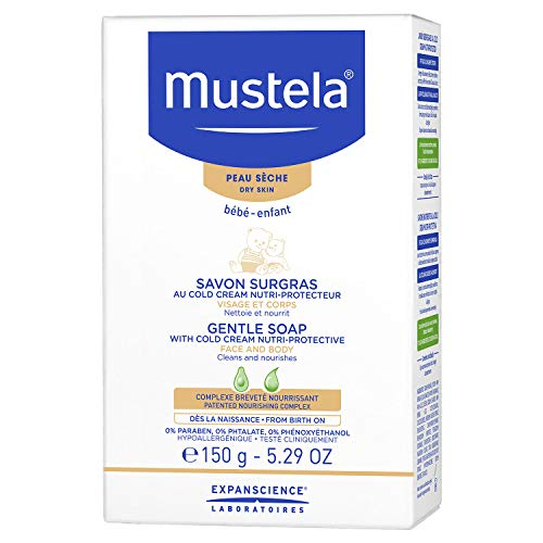 Mustela Gentle Soap, Baby Bar Soap with Cold Cream, Ceramides and Natural Avocado Perseose, for Dry Skin, 5.29 Ounce