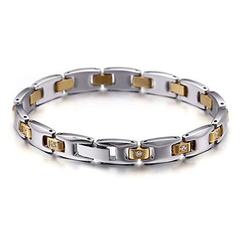 Daesar Damen Herren Charm Armband Edelstahl mit Zirkonia 8 MM Breit Armband Unisex Silber Gold für Beste Freunde 19CM