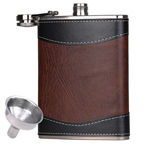 Premium Leather Hip Flask 8 oz with Funnel Stainless Steel Liqour Flask