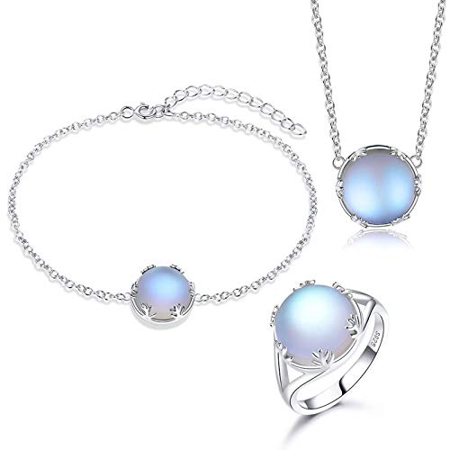 Daesar Sterling Silver Necklace Ring Beacelet Women Round Blue Cubic Zirconia Jewelry Set Silver Ring Size N 1/2