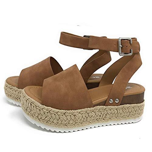 Sandalias Mujer Verano 2041 cáñamo Fondo Grueso Sandalias Punta Abierta Cuero Fondo Plano Zapatos Bohemias Romanas Hebilla Zapatillas