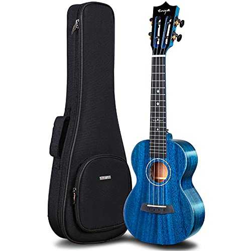 Enya EUC-MAD EQ Concert Ukulele with Pickup Solid Gloss Mahogany 23 Inch Wiping Blue with High-end 15mm Padded Gig Bag