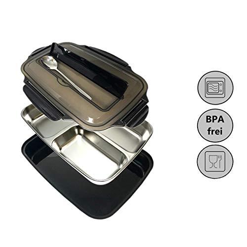 HEEKER lunchbox / brotdose - für kinder & erwachsene - auslaufsicher & luftdicht - mikrowellen- & spülmaschinenfest - fach für geschirr im deckel - aufbewahrungsbox aus PP & edelstahl - 3 fächer