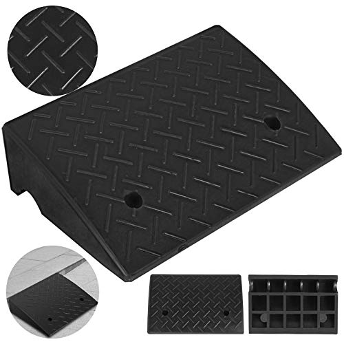 Mophorn Curb Ramp 5.3' Height 12.7' Width Rubber Curb Ramp Heavy Duty Car Ramps for Loading Dock Bike and Mower Cart