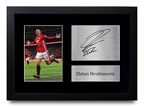 HWC Trading Zlatan Ibrahimovic A4 Gerahmte Signiert Gedruckt Autogramme Bild Druck-Fotoanzeige Geschenk Für Manchester United Fußball Fans