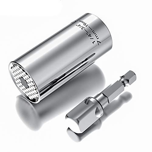 Ashiner - Llave de vaso universal para hombre, incluye adaptador de taladro eléctrico