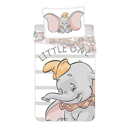 Jerry Fabrics Juego de cama individual con funda nórdica + funda de almohada oficial Disney Dumbo de algodón 3915