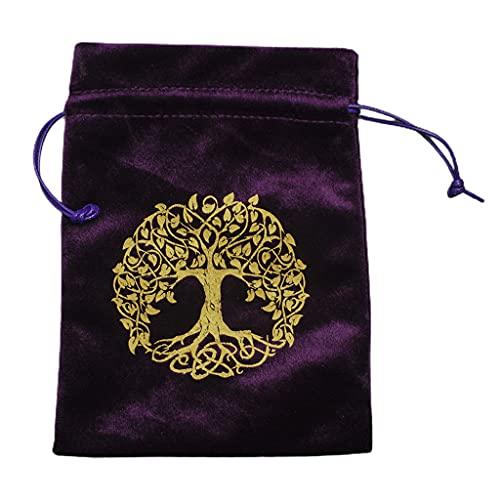 YUZI Tree of Life - Bolsa de almacenamiento de joyas con diseño de calavera, color morado con cordones para joyas, regalo para mujeres