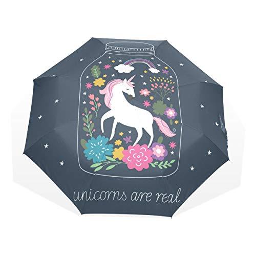 ISAOA Paraguas de Viaje automático, Paraguas Plegable, Unicornio en Botella Resistente al Viento, Ultra Ligero, protección UV, Paraguas Compacto, asa para fácil Transporte para Mujeres y Hombres