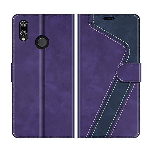MOBESV Custodia Huawei P20 Lite, Cover a Libro Huawei P20 Lite, Custodia in Pelle Huawei P20 Lite Magnetica Cover per Huawei P20 Lite, Viola/Blu Scuro